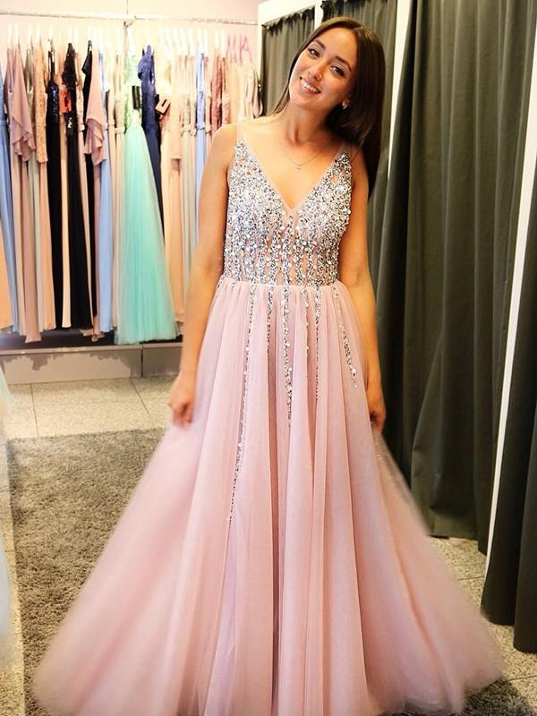 BohoProm prom dresses Shining Tulle V-neck Neckline A-line Prom Dresses With Rhinestones PD233
