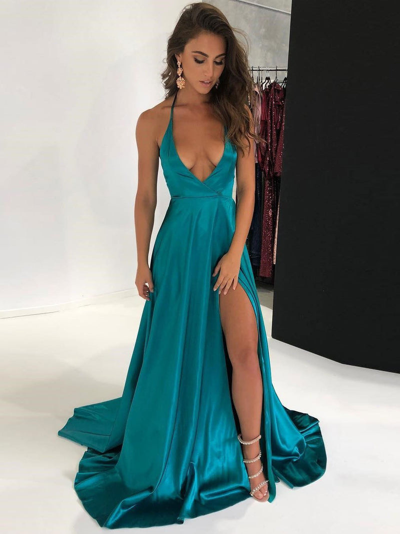 BohoProm prom dresses Simple Satin Halter Neckline Chapel Train A-line Prom Dresses With Slit PD197