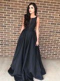 BohoProm prom dresses Simple Satin Scoop Neckline Chapel Train A-line Prom Dress PD144