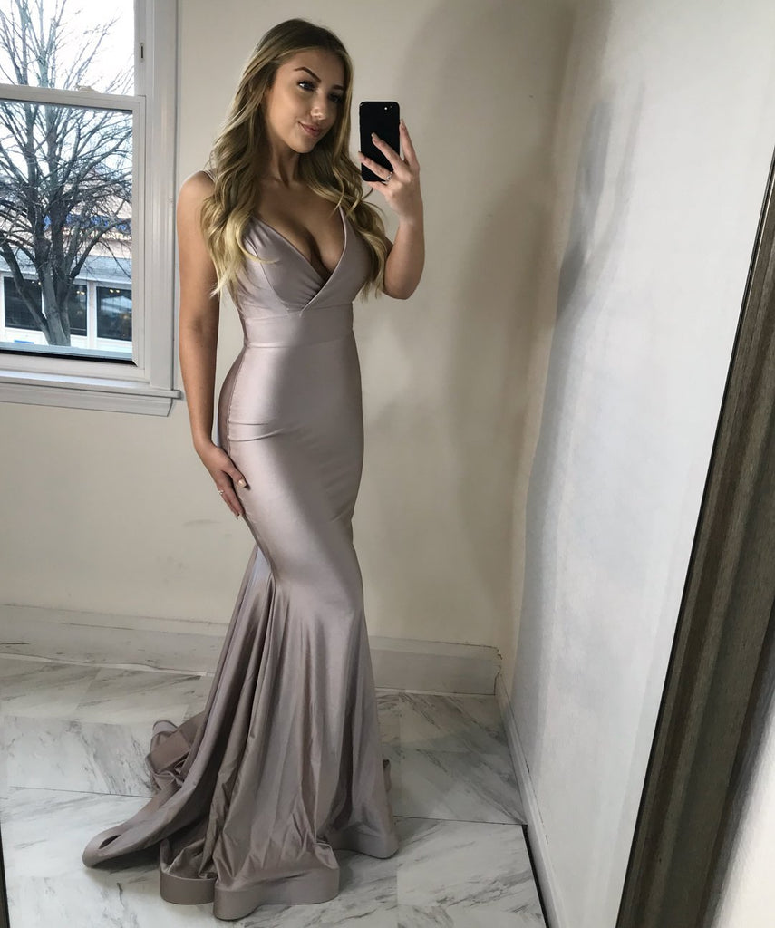 BohoProm prom dresses Simple Taffeta Spaghetti Straps Neckline Mermaid Prom Dresses PD223