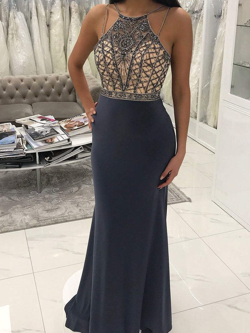 BohoProm prom dresses Sparkly Acetate Satin Spaghetti Straps Neckline Sheath Prom Dresses With Beadings PD104