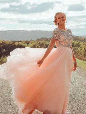 BohoProm prom dresses Sparkly Chiffon Bateau neckline Short Sleeves A-line Prom Dresses With Rhinestones PD213