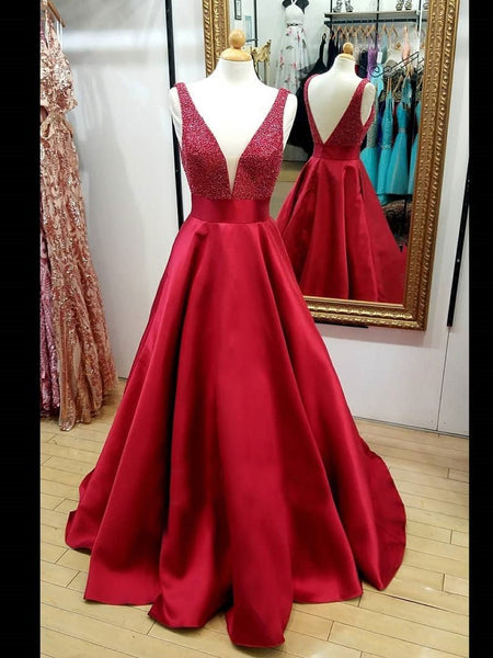 BohoProm prom dresses Sparkly Satin V-neck Neckline Sweep Train A-line Prom Dresses With Beadings PD087