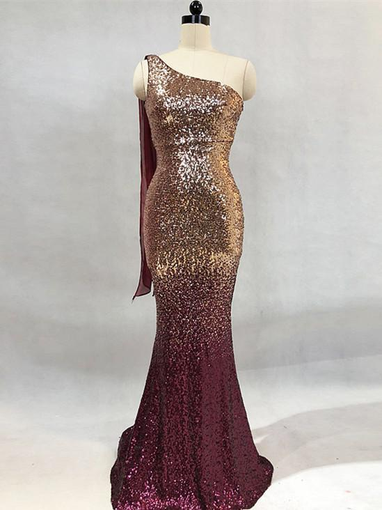 BohoProm prom dresses Sparkly Sequin Lace One Shoulder Neckline Floor-length Mermaid Prom Dress PD207