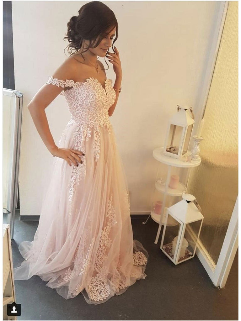 BohoProm prom dresses Stunning Tulle Off-the-shoulder Neckline A-line Prom Dresses With Appliques PD171
