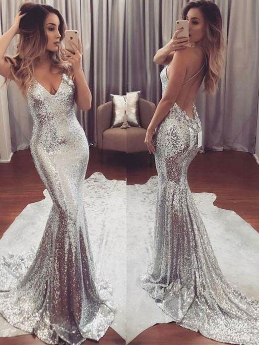 BohoProm prom dresses Trumpet/Mermaid Deep-V Chapel Train Sequined Prom Dresses 2773