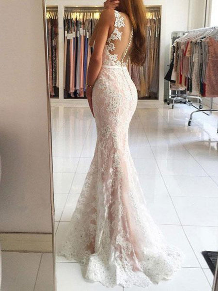 BohoProm prom dresses Trumpet/Mermaid Deep-V Sweep Train Lace Prom Dress 3078