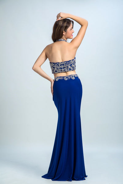 BohoProm prom dresses Trumpet/Mermaid Halter Floor-Length Satin Rhine Stone Royal Blue Prom Dresses 2912