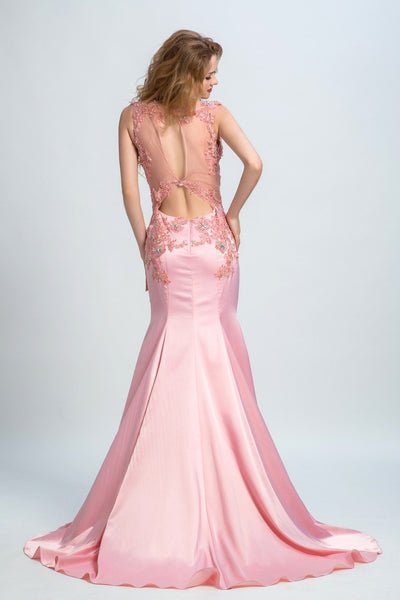BohoProm prom dresses Trumpet/Mermaid Illusion Sweep Train Satin  Rhine Stone Appliqued Prom Dresses 2890