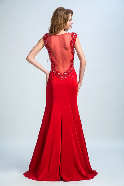BohoProm prom dresses Trumpet/Mermaid Illusion Sweep Train  Satin Rhine Stone Beaded Red Prom Dresses 2913
