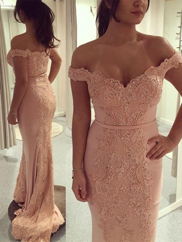 BohoProm prom dresses Trumpet/Mermaid Off-Shoulder Sweep Train Jersey Appliqued  Beaded Prom Dresses 2836