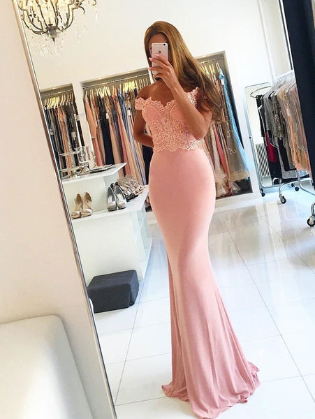 BohoProm prom dresses Trumpet/Mermaid Off-Shoulder Sweep Train Jersey Appliqued Prom Dresses 2840