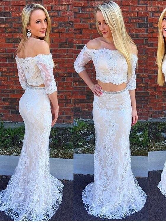 BohoProm prom dresses Trumpet/Mermaid Off-Shoulder Sweep Train Lace Rhine Stone Prom Dresses 3038