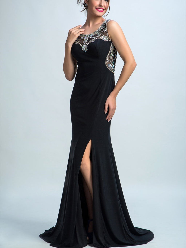 BohoProm prom dresses Trumpet/Mermaid Scoop-Neck Sweep Train Chiffon Rhine Stone  Prom Dresses 2898