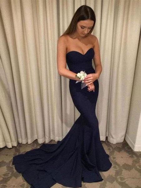BohoProm prom dresses Trumpet/Mermaid Sweetheart Chapel Train Chiffon Simple prom Dresses 3009