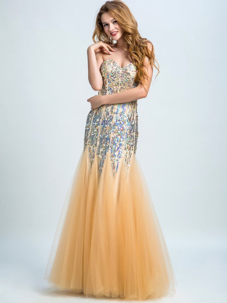 BohoProm prom dresses Trumpet/Mermaid Sweetheart  Floor-Length Tulle Rhine Stone Sequined Prom Dresses 2900