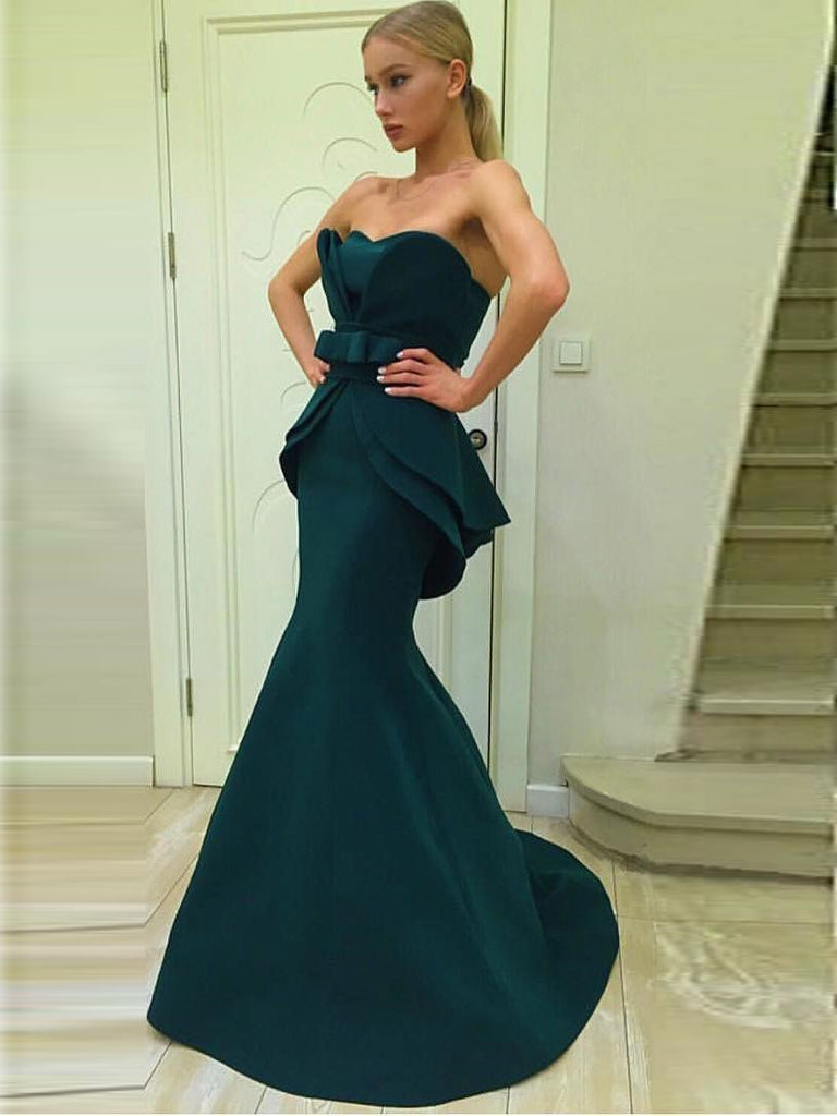 BohoProm prom dresses Trumpet/Mermaid Sweetheart Sweep Train Jersey Open Back Prom Dresses 2799