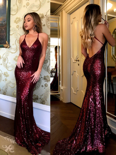 BohoProm prom dresses Trumpet/Mermaid V-Neck Halter Sweep Train Shinny Sequin Prom Dresses 2835