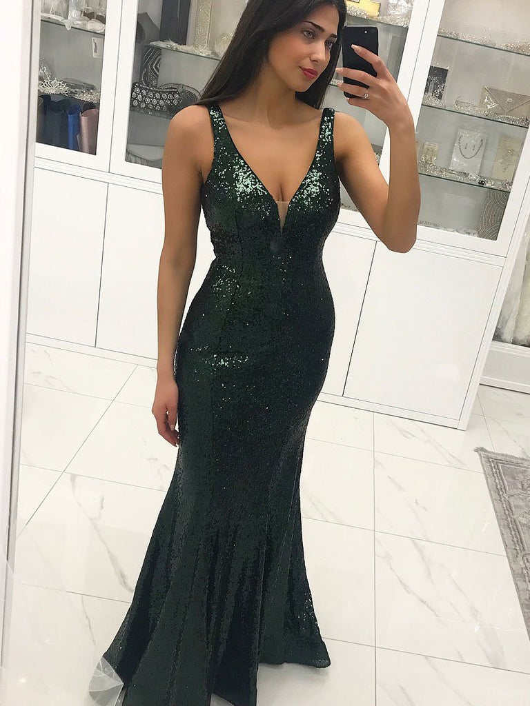 BohoProm prom dresses Unique Sequin Lace V-neck Neckline Mermaid Prom Dresses With PD111