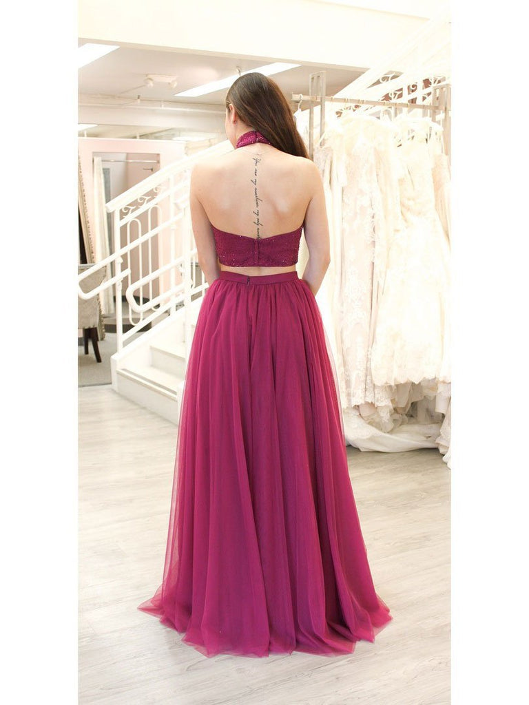 BohoProm prom dresses Unique Tulle High-neck Neckline 2 Pieces A-line Prom Dresses With Beadings PD135