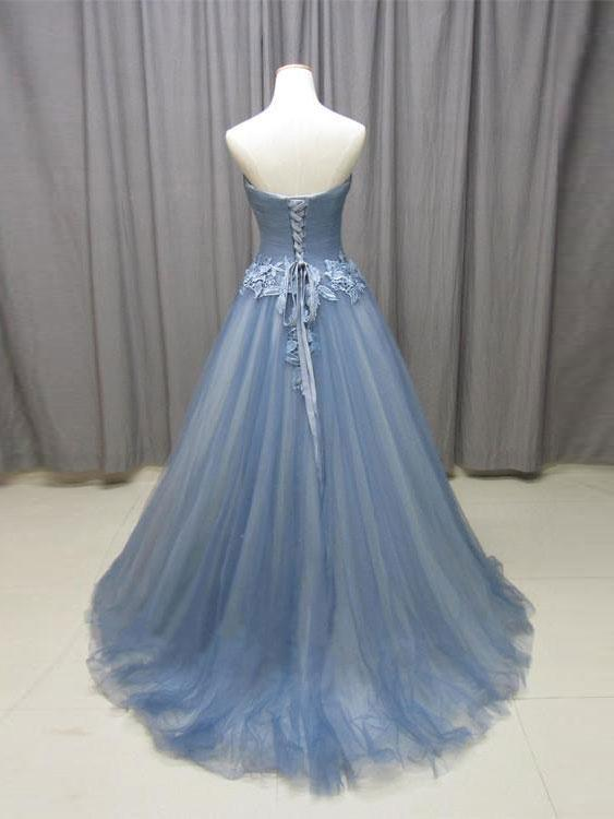 BohoProm prom dresses Unique Tulle Sweetheart Neckline Sweep Train A-line Prom Dresses With Appliques PD034