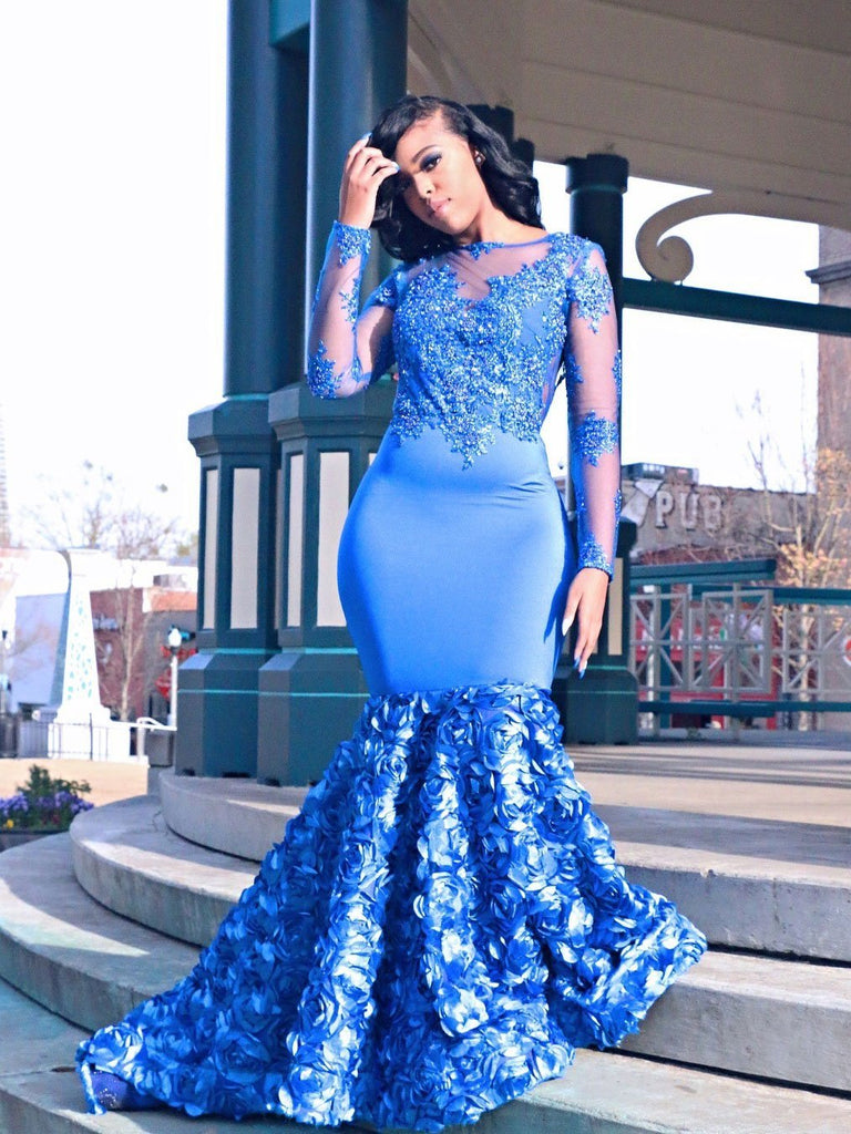 BohoProm prom dresses Wonderful Stretch Satin Bateau Neckline Mermaid Prom Dresses With Appliques PD166