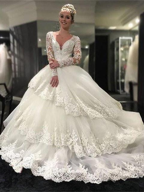 BohoProm Wedding Dresses A-line Deep-V Cathedral Train Tulle Appliqued Long Sleeve Wedding Dresses SWD021