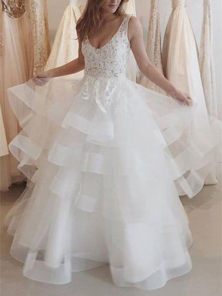 BohoProm Wedding Dresses A-line Deep-V Floor-Length Organza Lace Beaded  Wedding Dresses ABC0002