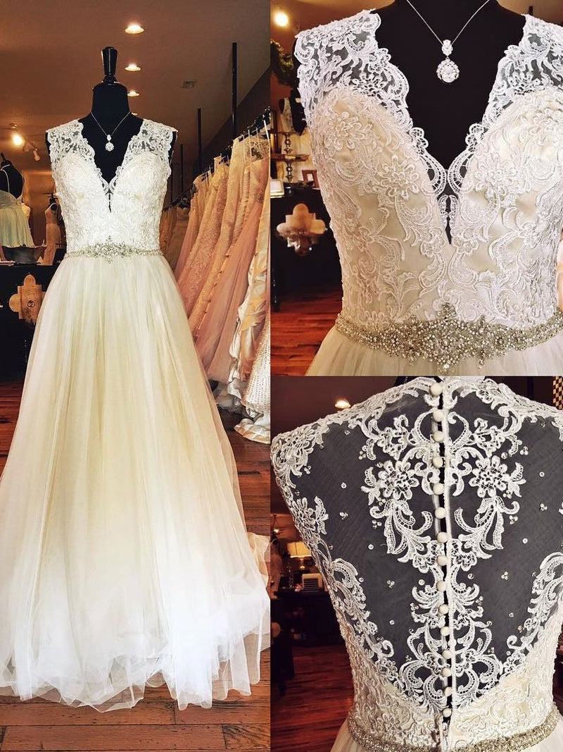 BohoProm Wedding Dresses A-line Deep-V Floor-Length Tulle Lace Rhine Stone Wedding Dresses SWD042