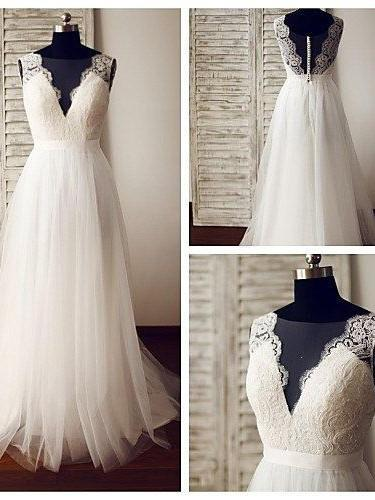 BohoProm Wedding Dresses A-line Deep-V Floor-Length Tulle Lace Wedding Dresses ABC0004
