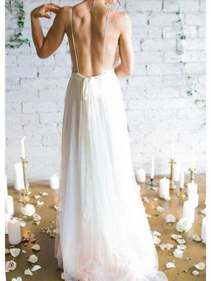 BohoProm Wedding Dresses A-line Deep-V Sweep Train Chiffon Simple Wedding Dresses ASD26738