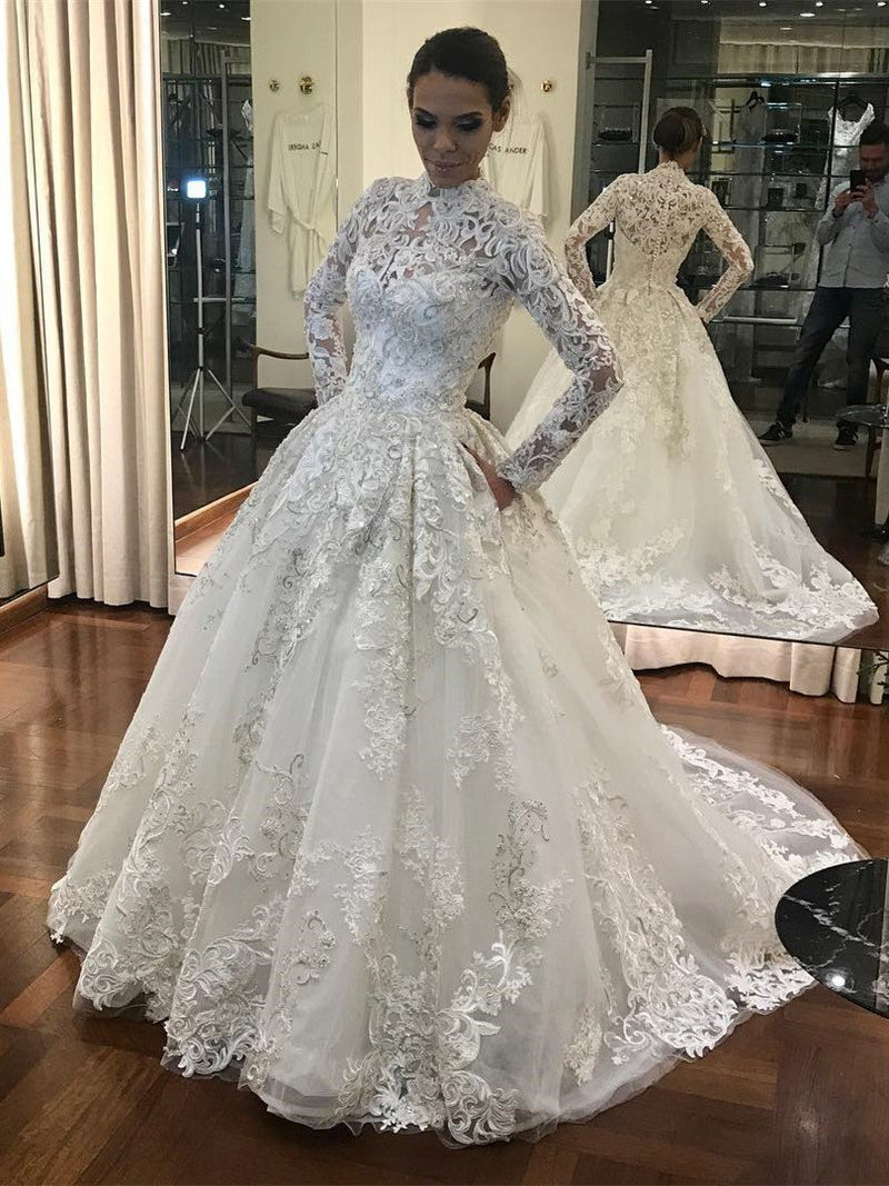 BohoProm Wedding Dresses A-line High-Neck Chapel Train Tulle Appliqued Beaded Wedding Dresses ASD26736