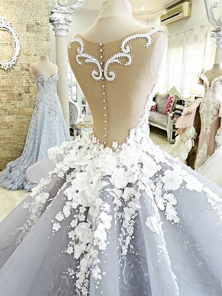 BohoProm Wedding Dresses A-line Illusion Cathedral Train Organza Lace Appliqued Rhine Stone Wedding Dresses SWD043