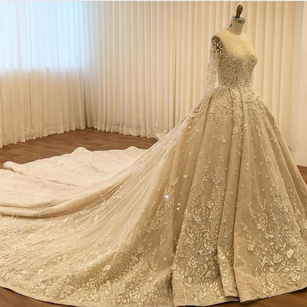 BohoProm Wedding Dresses A-line Illusion Cathedral Train Tulle Appliqued Beaded Long Elegant Wedding Dresses 2819