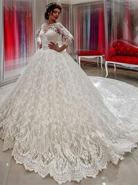 BohoProm Wedding Dresses A-line Illusion Cathedral Train Tulle Lace Beaded Wedding Dresses ASD26737