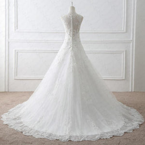 BohoProm Wedding Dresses A-line Illusion Chapel Train Tulle Lace Ivory Wedding Dresses With Beadings ASD26969