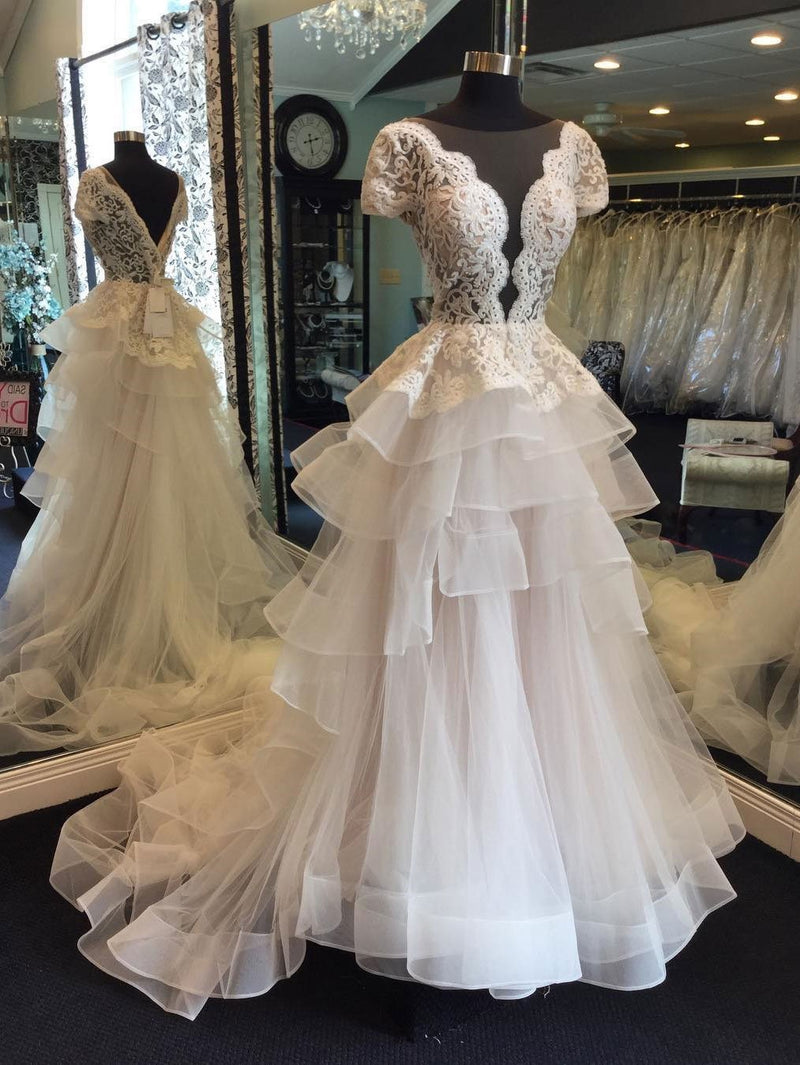 BohoProm Wedding Dresses A-line Illusion Sweep Train Organza Appliqued Beaded Wedding Dresses SWD015