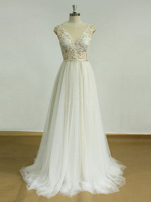 BohoProm Wedding Dresses A-line Illusion Sweep Train Tulle Lace Wedding Dresses SWD022