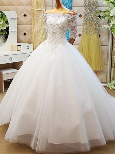 BohoProm Wedding Dresses A-line Off-Shoulder Cathedral Train Tulle Beaded Lace Wedding Dresses ASD2628