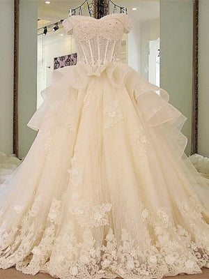 BohoProm Wedding Dresses A-line Off-Shoulder Cathedral Train Tulle Rhine Stone Lace Wedding Dresses ASD2630