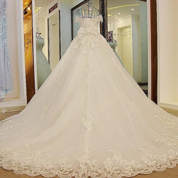 BohoProm Wedding Dresses A-line Off-Shoulder Cathedral Train Tulle Rhine Stone Lace Wedding Dresses ASD2631