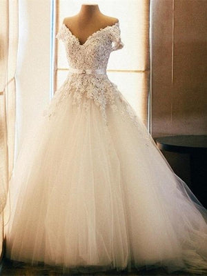 BohoProm Wedding Dresses A-line Off-Shoulder Chapel Train Tulle Appliqued Beaded Rhine Stone Wedding Dresses SWD032