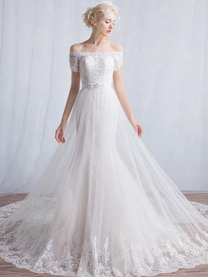 BohoProm Wedding Dresses A-line Off-Shoulder Chapel Train Tulle Lace Beaded Ivory Wedding Dresses ASD26957
