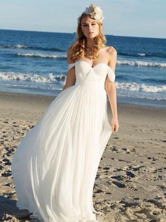 BohoProm Wedding Dresses A-line Off-Shoulder Floor-Length Chiffon Ivory Simple Wedding Dress APD2728