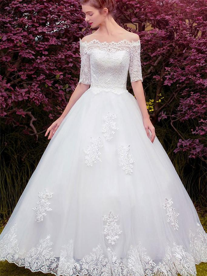 BohoProm Wedding Dresses A-line Off-Shoulder Floor-Length Tulle Lace Appliqued Wedding Dresses ASD27012