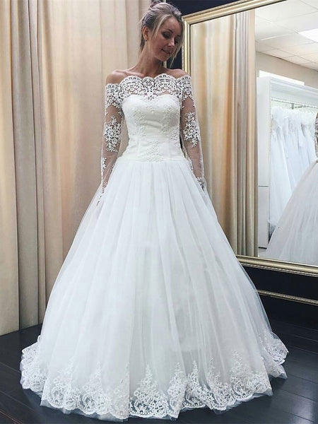 BohoProm Wedding Dresses A-line Off-Shoulder Floor-Length Tulle Lace Wedding Dresses SWD004