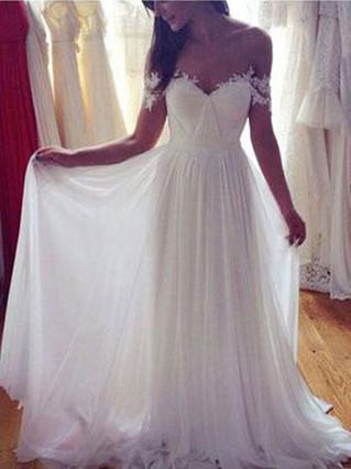 BohoProm Wedding Dresses A-line Off-Shoulder Sweep Train Chiffon White Wedding Dresses With Appliques ABC00030