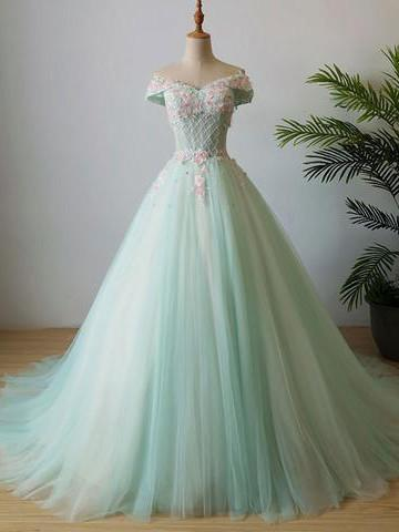 BohoProm Wedding Dresses A-line Off-Shoulder Sweep Train Tulle Beaded Prom Dresses With Flowers ASD26746