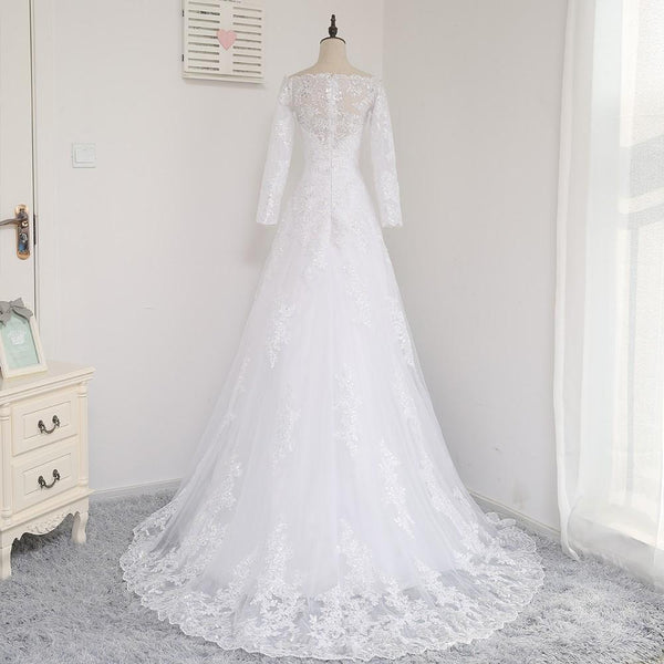 BohoProm Wedding Dresses A-line Off-Shoulder Sweep Train Tulle Lace White Wedding Dresses With Sequins ASD26966