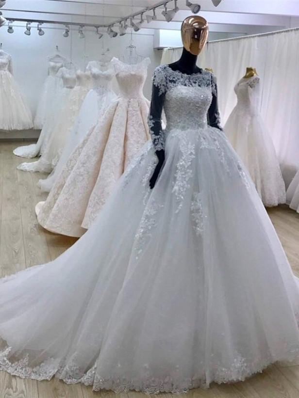 BohoProm Wedding Dresses A-line Scoop-Neck Chapel Train Tulle Appliqued Beaded Long White Wedding Dresses APD2672